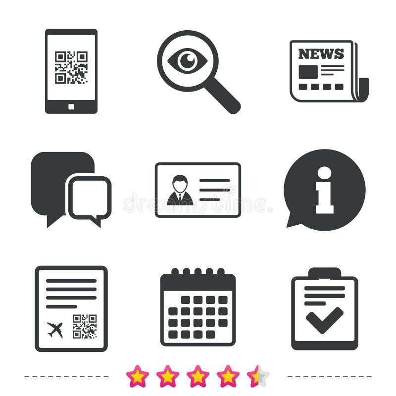 icona di codice di ricerca Segno di volo del passaggio di imbarco illustrazione di stock