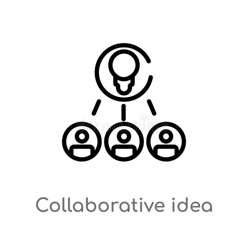 icona di collaborazione di vettore di idea del profilo linea semplice nera isolata illustrazione dell'elemento dal concetto gener illustrazione vettoriale
