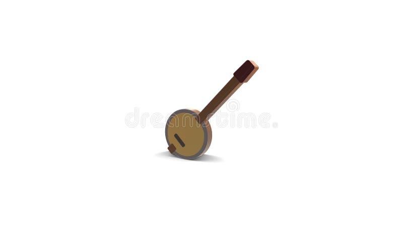icona di colore 3d del banjo illustrazione vettoriale