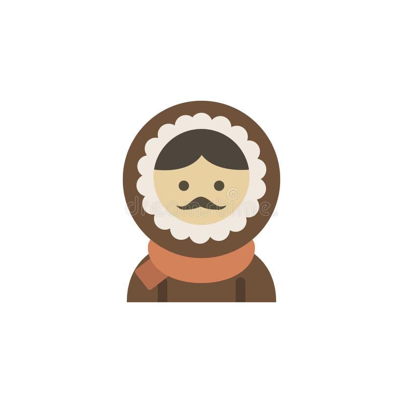 Icona di colore degli eschimesi Elementi icone colorate del paese delle meraviglie di inverno di multi Icona premio di progettazi illustrazione di stock