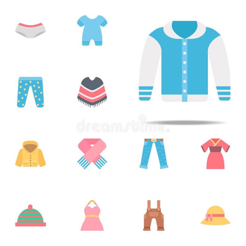 Icona di colore del rivestimento Insieme universale delle icone dei vestiti per il web ed il cellulare illustrazione vettoriale