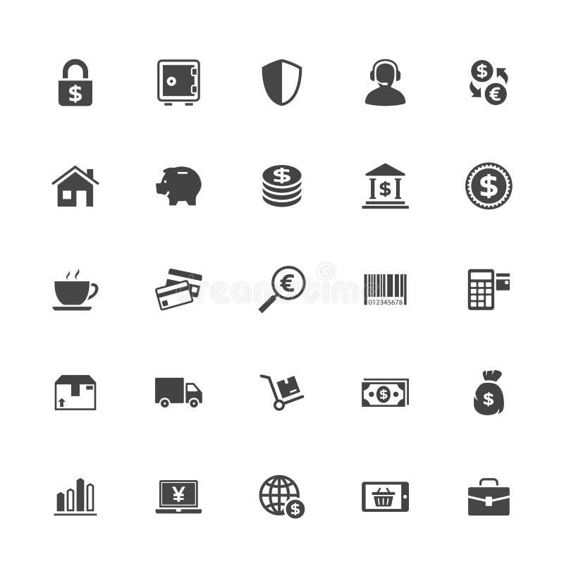 Icona di commercio e di acquisto su Whit Background illustrazione di stock