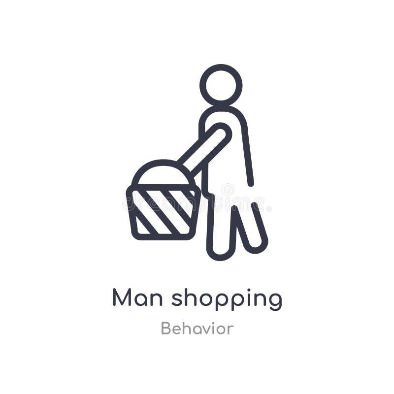 icona di compera del profilo dell'uomo linea isolata illustrazione di vettore dalla raccolta di comportamento icona sottile edita illustrazione di stock