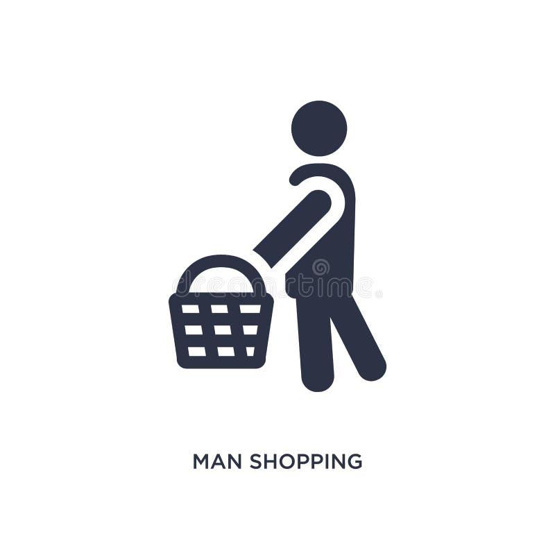 icona di compera dell'uomo su fondo bianco Illustrazione semplice dell'elemento dal concetto di comportamento illustrazione vettoriale