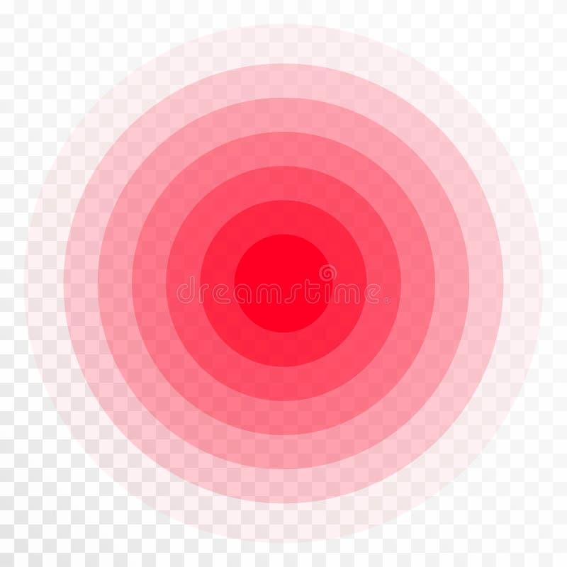 Icona di concentrazione di dolore I cerchi trasparent rossi, simbolo di concentrazione di dolore per antidolorifico medico droga illustrazione vettoriale