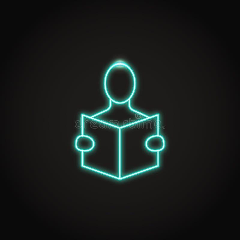 Icona di concetto di istruzione nella linea stile al neon illustrazione di stock
