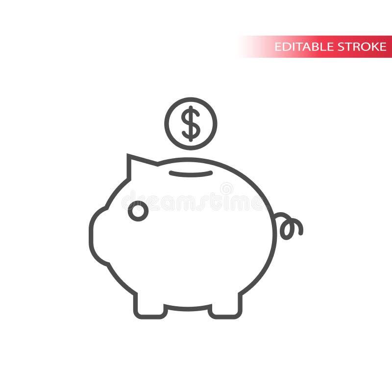 Icona di concetto di risparmio dei soldi Linea sottile icona del porcellino salvadanaio illustrazione vettoriale