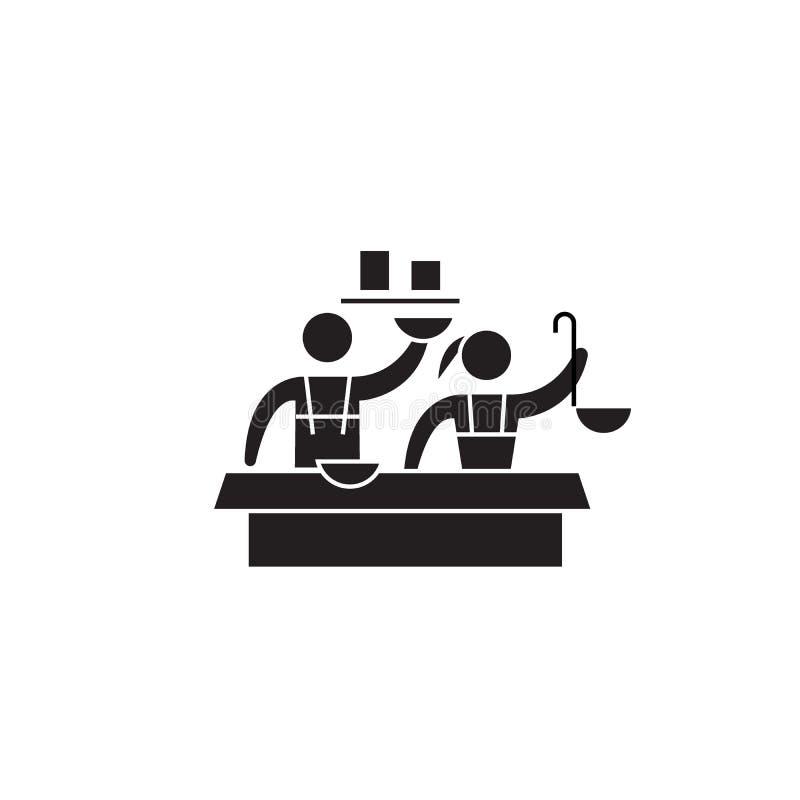 Icona di concetto di vettore del nero della corte di alimento Illustrazione piana della corte di alimento, segno royalty illustrazione gratis