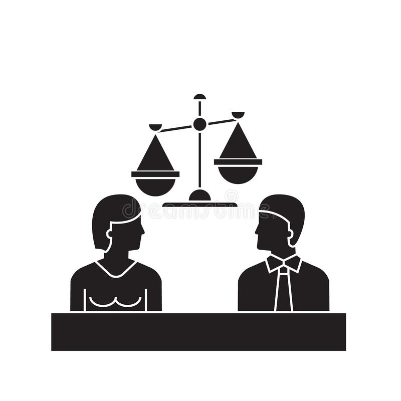 Icona di concetto di vettore del nero della corte Illustrazione piana della corte, segno illustrazione vettoriale