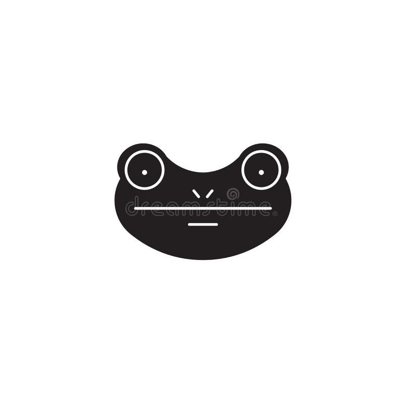 Icona di concetto di vettore del nero della rana Illustrazione piana della rana, segno royalty illustrazione gratis