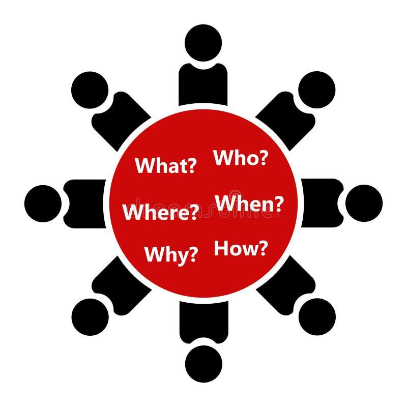 Icona di conferenza La gente si siede alla tavola rotonda per rispondere alle domande illustrazione vettoriale