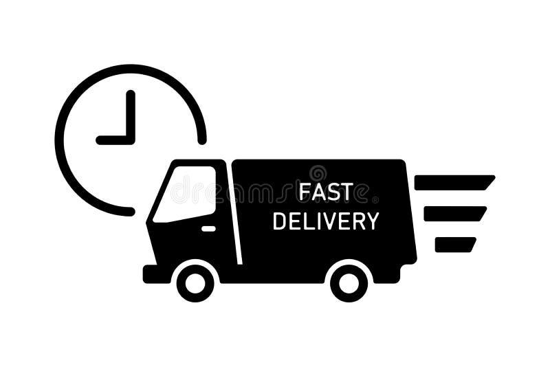 Icona di consegna del veicolo con orologio isolato Servizio di spedizione veloce Icona mobile illustrazione vettoriale