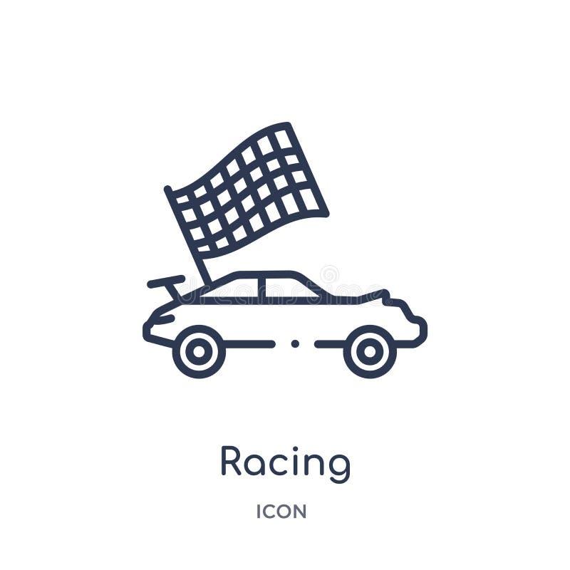 Icona di corsa lineare da spettacolo e dalla raccolta del profilo della galleria Linea sottile vettore di corsa isolato su fondo  royalty illustrazione gratis