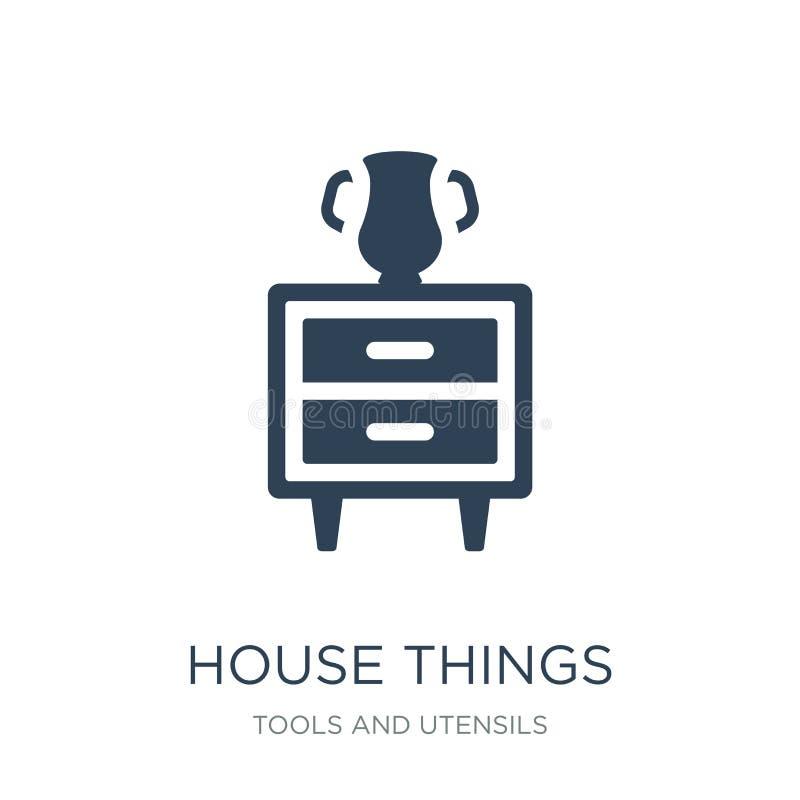 icona di cose della casa nello stile d'avanguardia di progettazione Icona di cose della Camera isolata su fondo bianco icona di v royalty illustrazione gratis