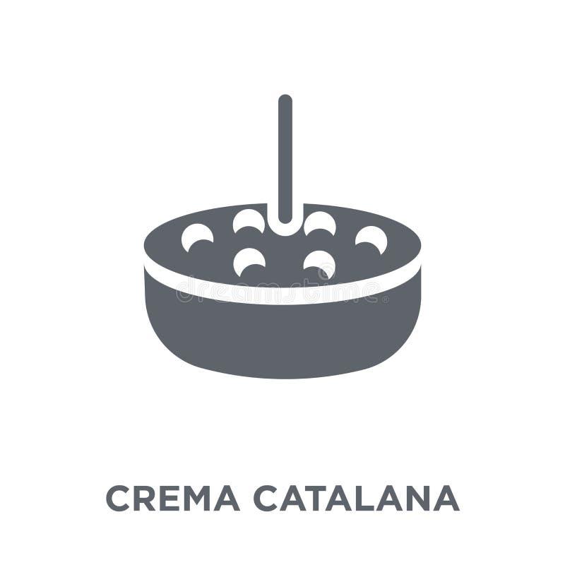 Icona di Crema Catalana dalla raccolta spagnola dell'alimento illustrazione vettoriale