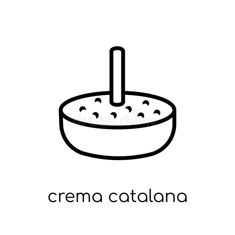 Icona di Crema Catalana dalla raccolta spagnola dell'alimento illustrazione di stock