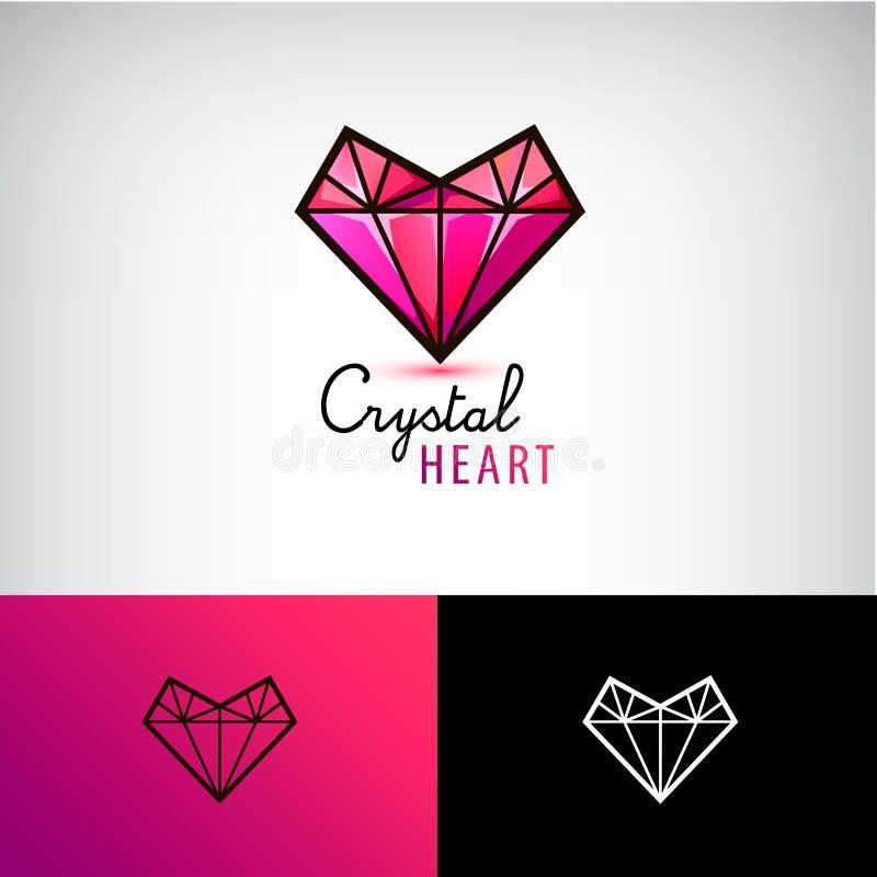 Icona di cristallo del cuore di vettore, logo dei gioielli Amore, diamante, illustrazione vettoriale