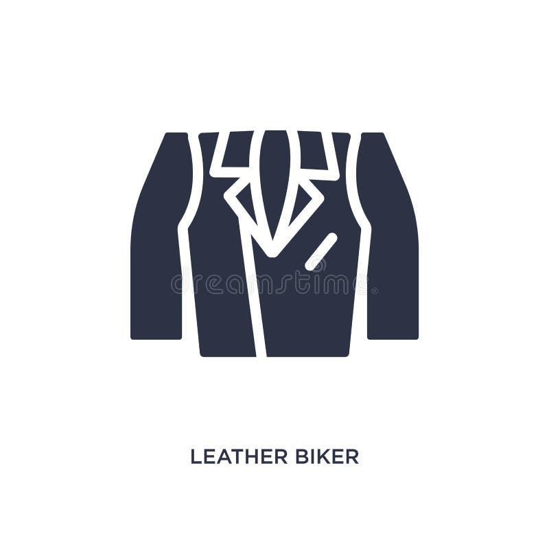 icona di cuoio del rivestimento del motociclista su fondo bianco Illustrazione semplice dell'elemento dal concetto dei vestiti illustrazione vettoriale