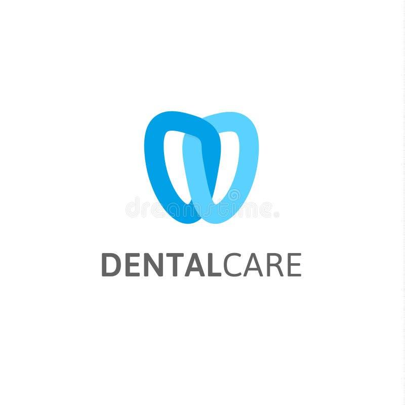 Icona di cure odontoiatriche Modello di logo di vettore della clinica del dentista Sottragga il dente stilizzato, logotype modern illustrazione vettoriale