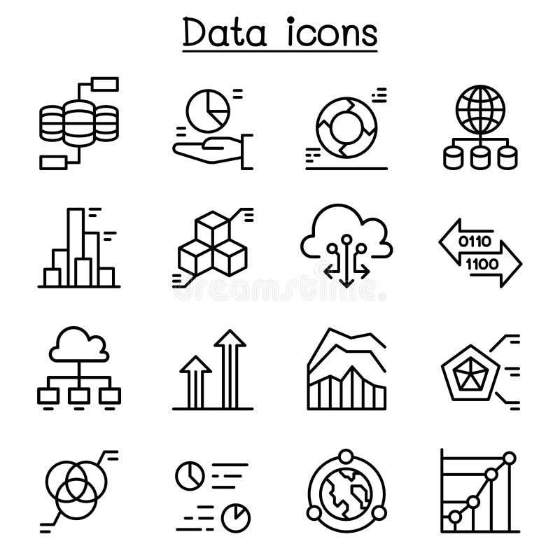 Icona di dati messa nella linea stile sottile illustrazione vettoriale