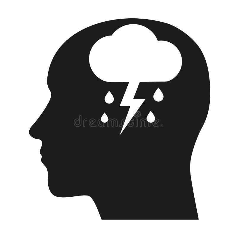 Icona di depressione Icone di salute mentale del concetto di depressione, di dipendenza o di solitudine illustrazione di stock