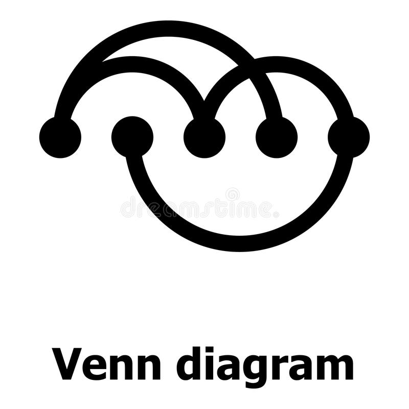 Icona di diagramma di Venn, stile semplice illustrazione vettoriale