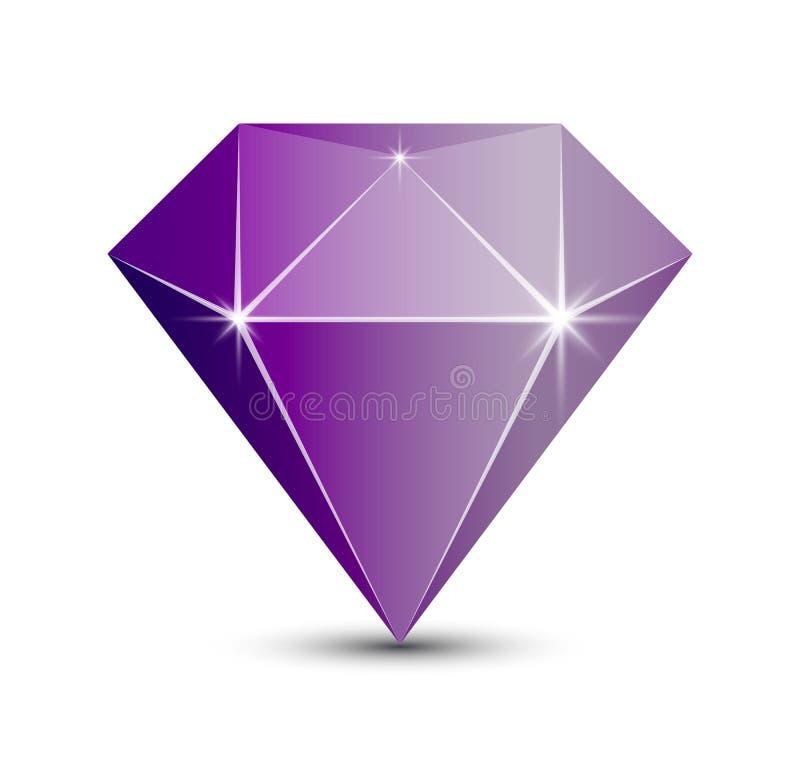 Icona di Diamond Amethyst per il logo del negozio di gioielli illustrazione vettoriale
