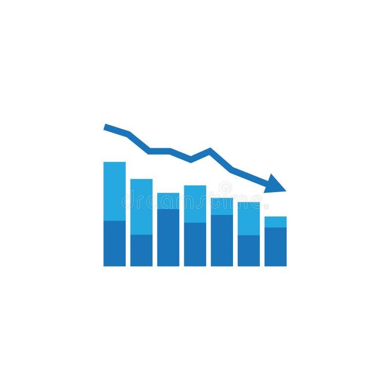 icona di diminuzione della freccia i soldi del dollaro cadono simbolo economia che allunga goccia in aumento L'affare ha perso la illustrazione di stock
