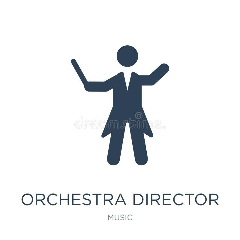 icona di direttore dell'orchestra nello stile d'avanguardia di progettazione icona di direttore dell'orchestra isolata su fondo b illustrazione vettoriale