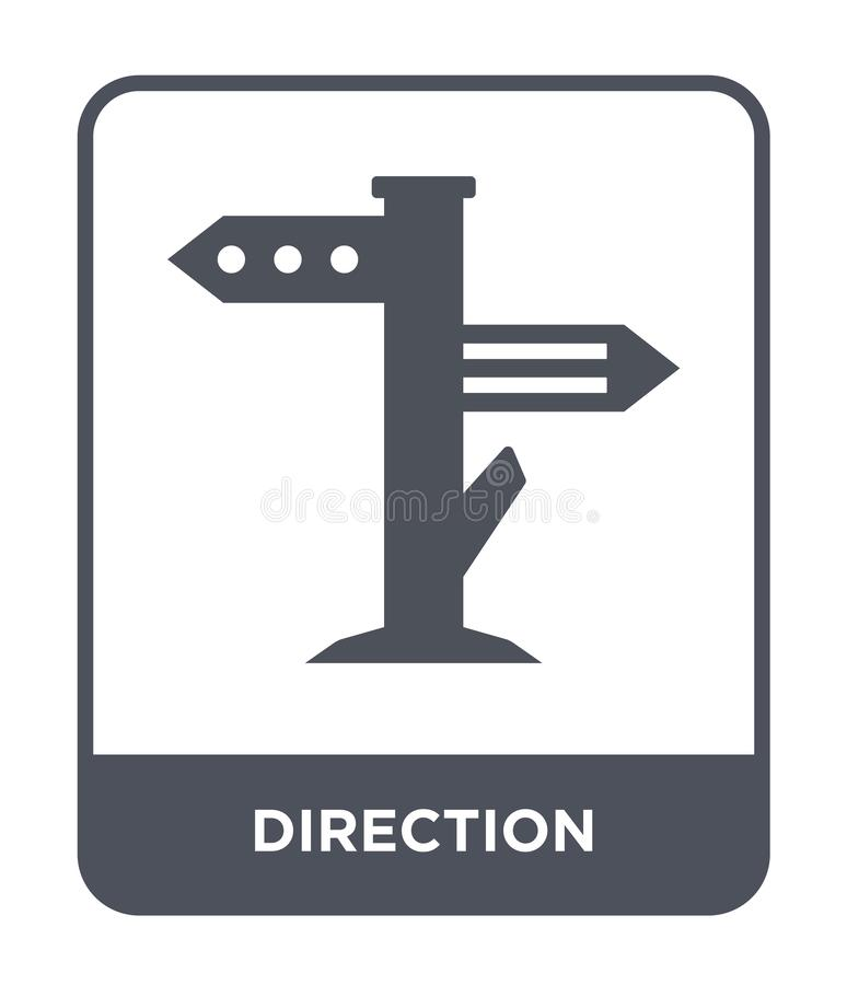 icona di direzione nello stile d'avanguardia di progettazione icona di direzione isolata su fondo bianco piano semplice e moderno illustrazione vettoriale