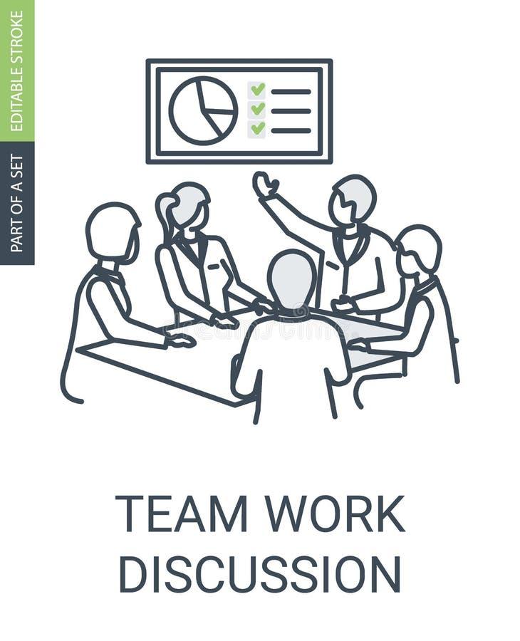 Icona di discussione del lavoro di gruppo, icona dell'incontro di affari illustrazione di stock