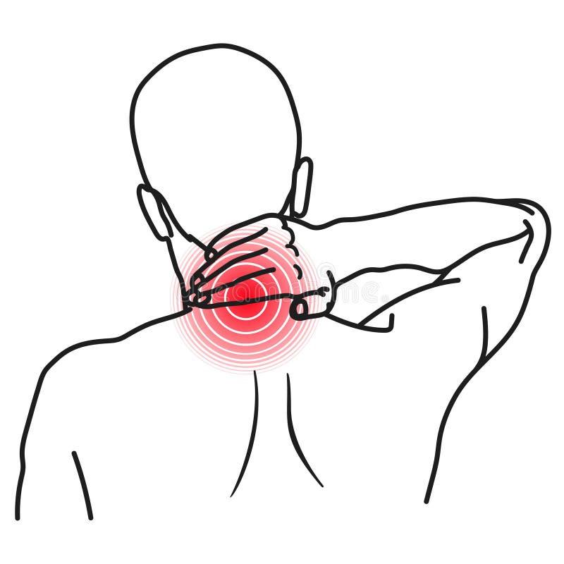 Icona di dolore al collo, sofferenza dell'uomo con il problema sanitario royalty illustrazione gratis