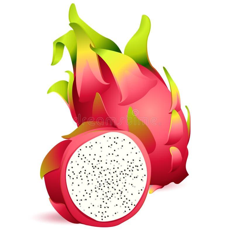 Icona di dragonfruit esotico maturo con la fetta illustrazione vettoriale