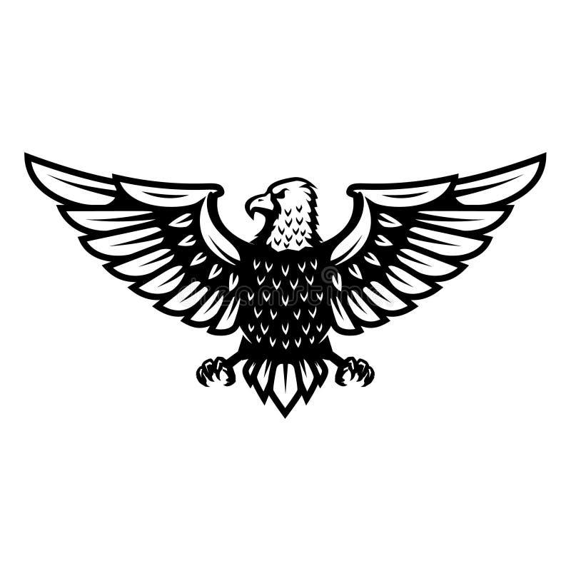 Icona di Eagle isolata su fondo bianco Progetti l'elemento per il logo, l'etichetta, l'emblema, il segno, distintivo illustrazione vettoriale