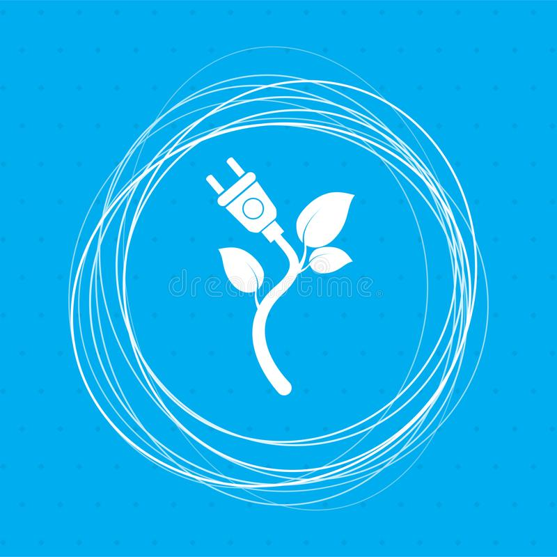 Icona di eco di potere di energia su un fondo blu con i cerchi astratti intorno ed il posto per il vostro testo illustrazione vettoriale