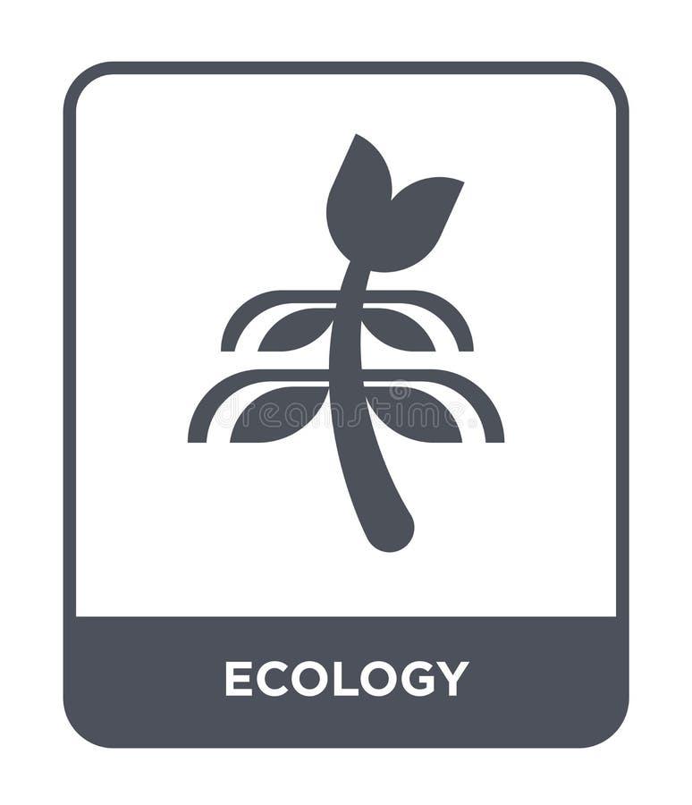 icona di ecologia nello stile d'avanguardia di progettazione Icona di ecologia isolata su fondo bianco simbolo piano semplice e m illustrazione di stock
