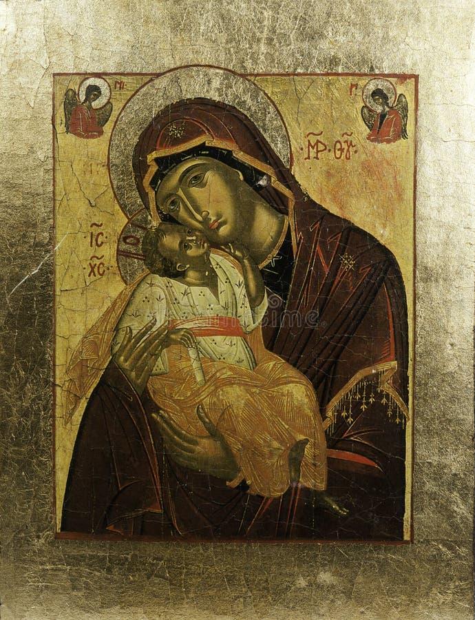Icona di Eleousa del Greco nel telaio dorato immagine stock libera da diritti