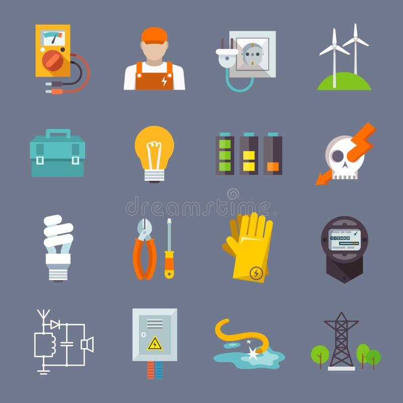 Icona di elettricità piana illustrazione di stock