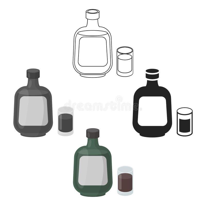 Icona di erbe del liquore nel fumetto, stile nero isolato su fondo bianco Illustrazione di vettore delle azione di simbolo dell'a royalty illustrazione gratis