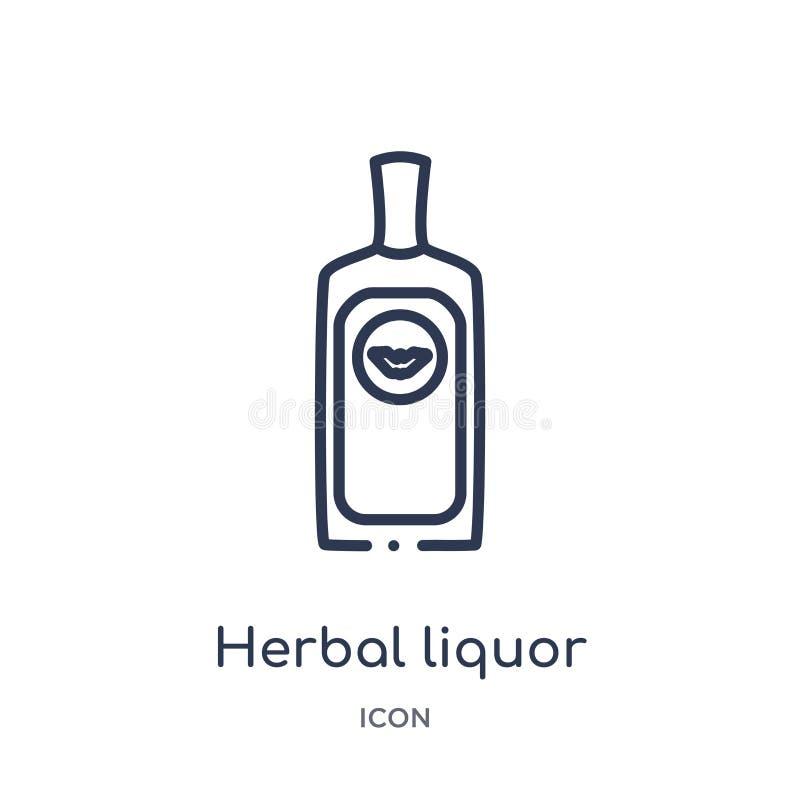 Icona di erbe lineare del liquore dalla raccolta del profilo delle bevande Linea sottile vettore di erbe del liquore isolato su f royalty illustrazione gratis