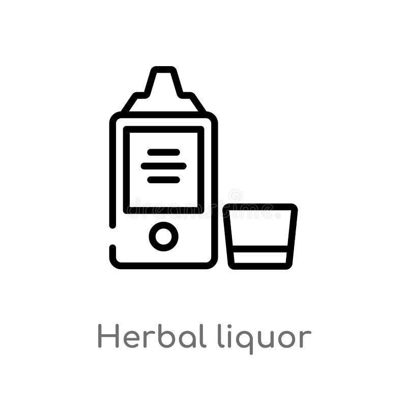 icona di erbe di vettore del liquore del profilo linea semplice nera isolata illustrazione dell'elemento dal concetto delle bevan illustrazione di stock