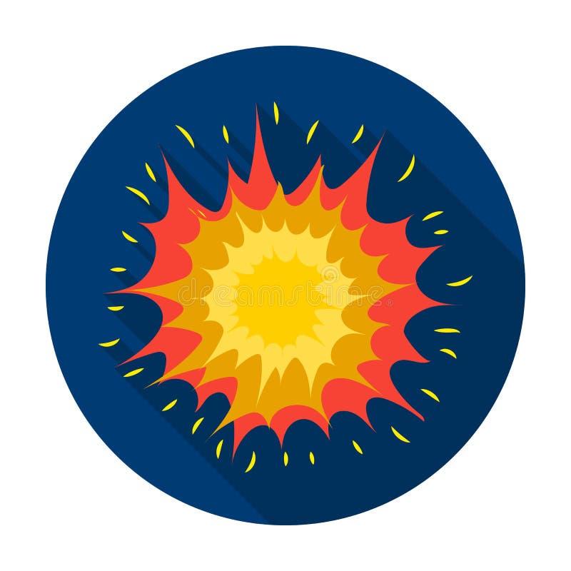 Icona di esplosione nello stile piano su fondo bianco Illustrazione di vettore delle azione di simbolo di esplosioni illustrazione di stock