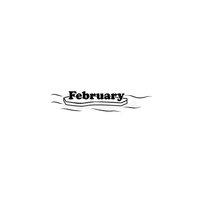 Icona di febbraio Nome scritto del mese con differenti elementi concernenti l'icona di mese Icona premio di progettazione grafica illustrazione vettoriale