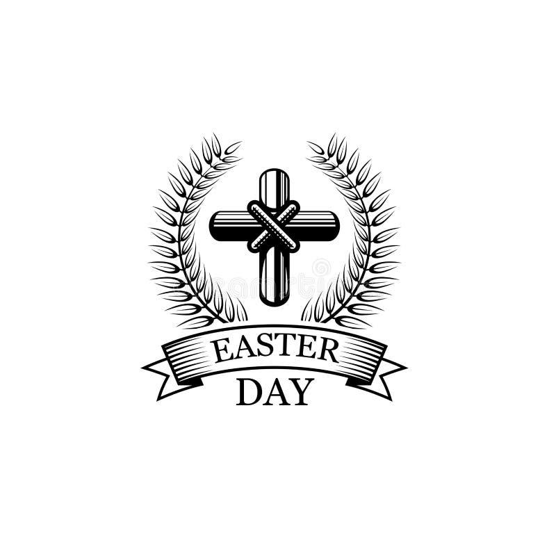 Icona di festa religiosa di vettore della croce di giorno di Pasqua illustrazione vettoriale