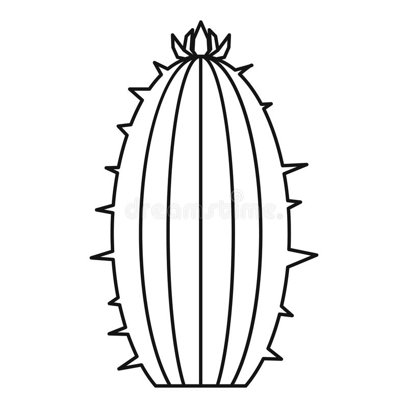 Icona di fioritura del cactus, stile del profilo royalty illustrazione gratis