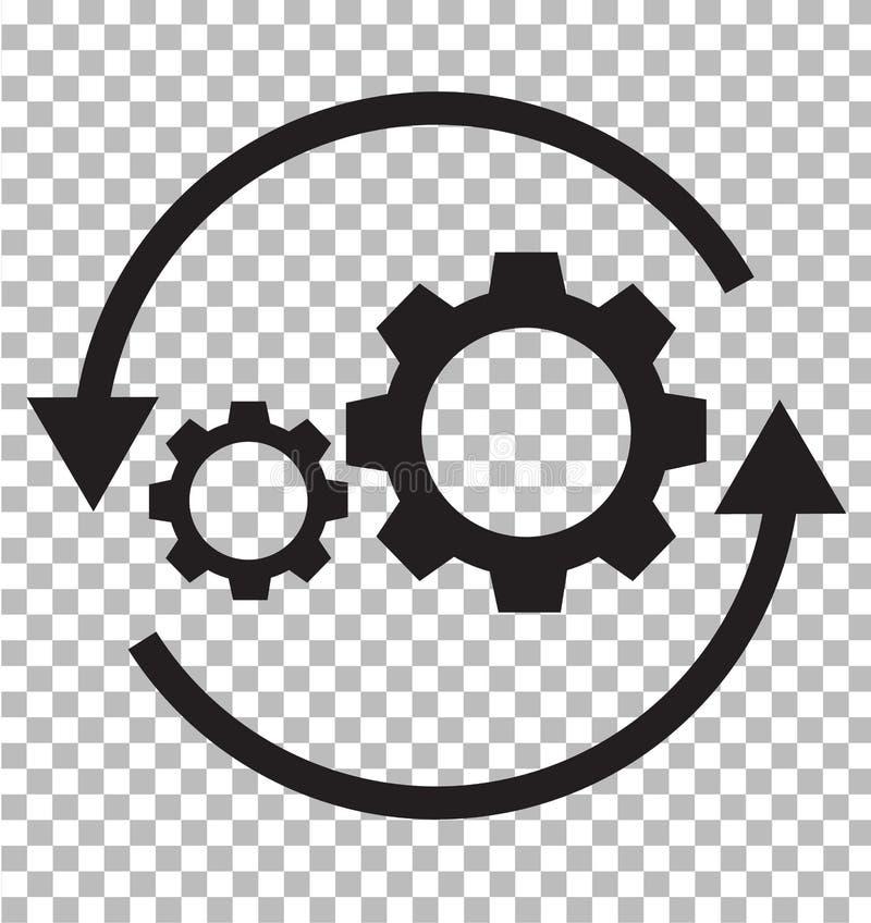Icona di flusso di lavoro su trasparente Stile piano icona FO della freccia e dell'ingranaggio royalty illustrazione gratis
