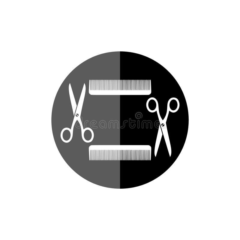 Icona di forbici e del pettine illustrazione di stock