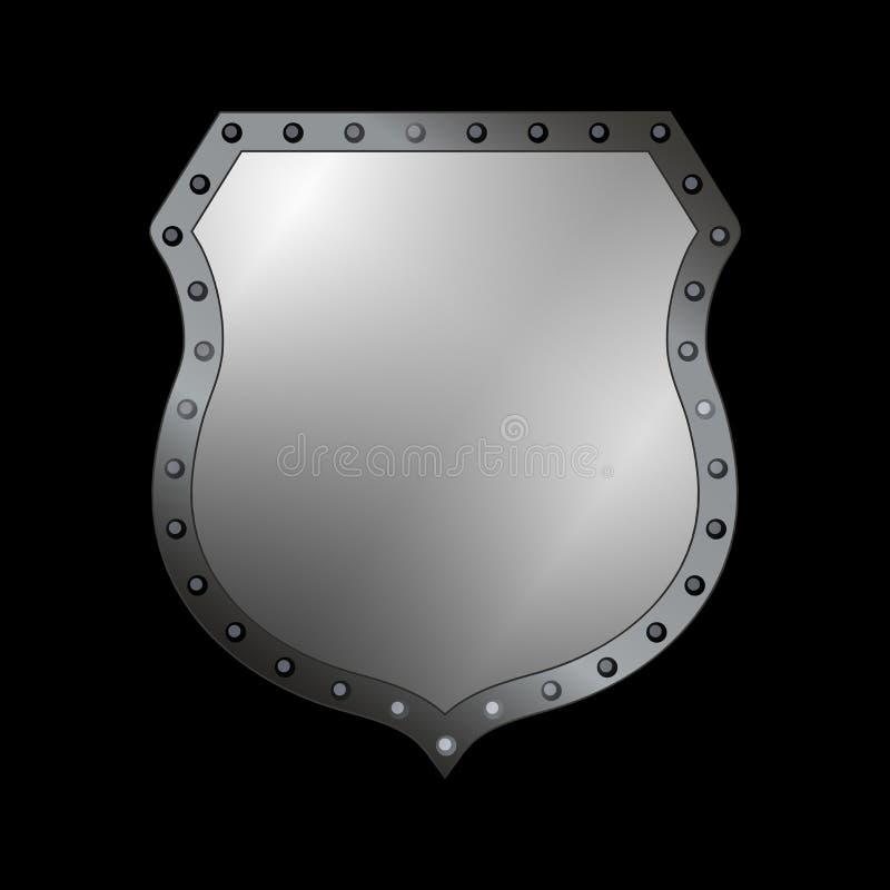Icona di forma dello schermo d'argento segno grigio dell'emblema 3D isolato su fondo nero Simbolo di sicurezza, potere, protezion illustrazione di stock