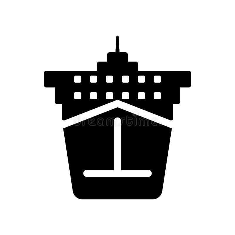 Icona di Front View della nave da carico  illustrazione vettoriale