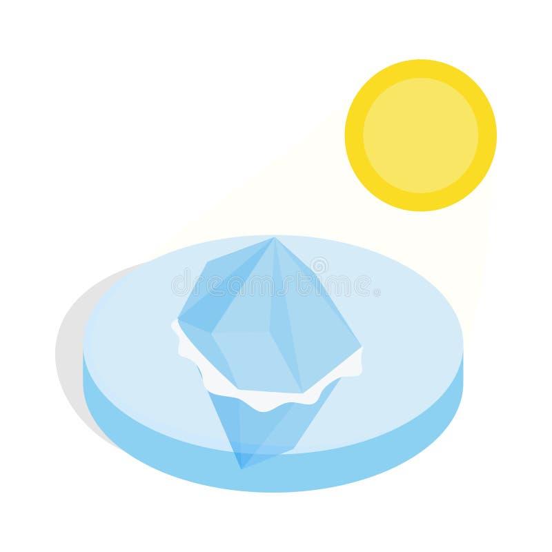 Icona di fusione dell'iceberg, stile isometrico 3d illustrazione di stock